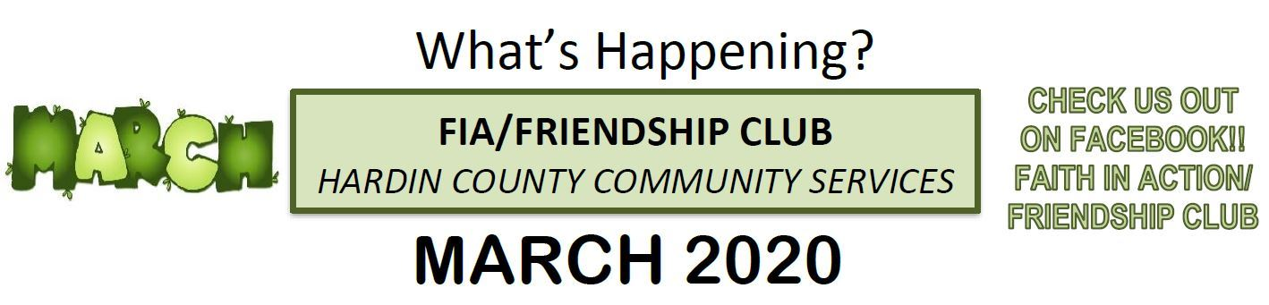 March 2020 Friendship Club Newsletter Image